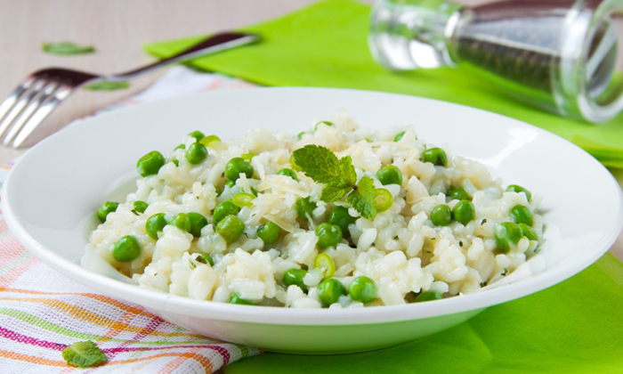 Soupy Rice with Peas