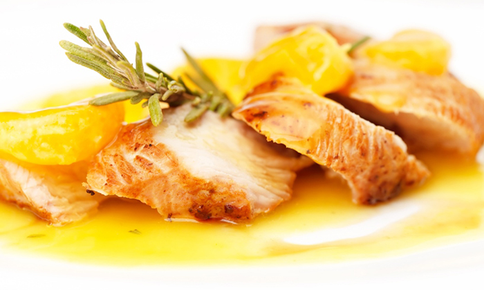 Chicken Breast with orange sauce and Rice