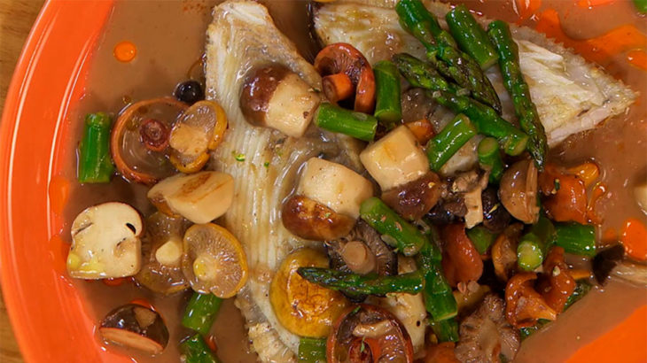 Turbot grilled with vegetables