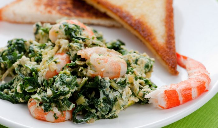 Chard with Prawn Omelet