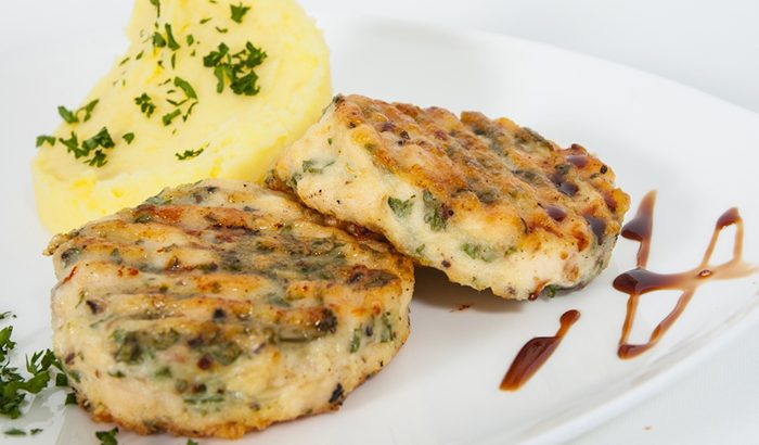 Chicken Burgers with Microwaved Potatoes