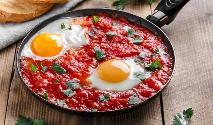Grilled Egg with Tomato Sauce